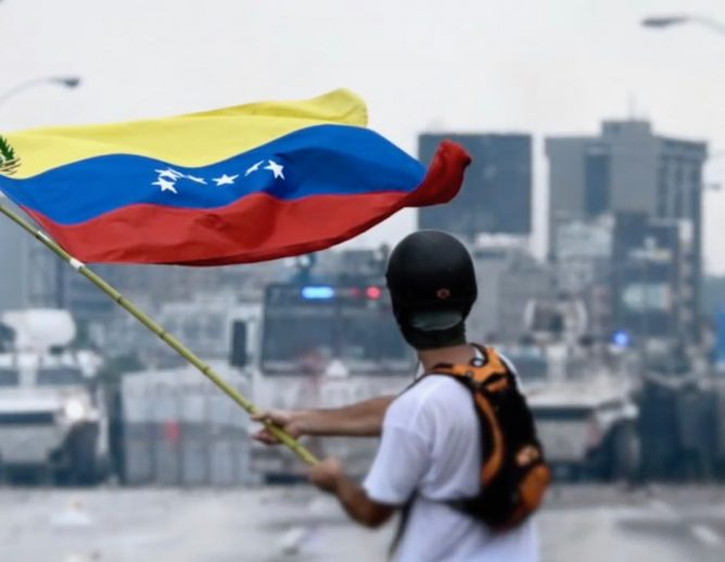 Venezuelan Flag at Protest