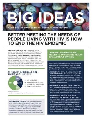 Big Ideas: Maximizing the Impact of the Ryan White HIV/AIDS Program