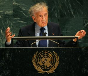 Elie Wiesel speaks at the UN General Assembly