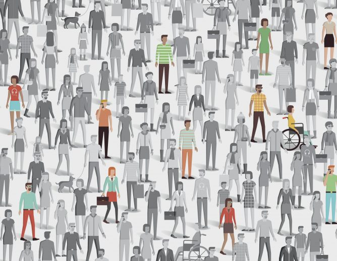 Crowd of people with few individuals highlighted graphic