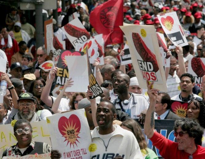 Protestors march in Washington DC