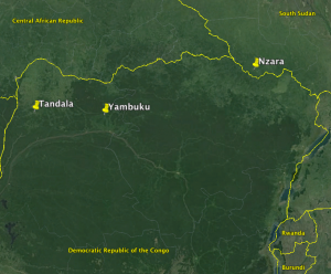 Figure 1: Map of the First Three Ebola Outbreaks.