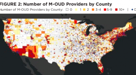 Figure 2: Number of M-OUD Providers by County