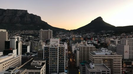 Sun rise in a city